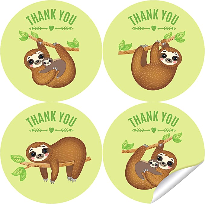 Assorted Round Party Favor Stickers 24 Ct. Sloth
