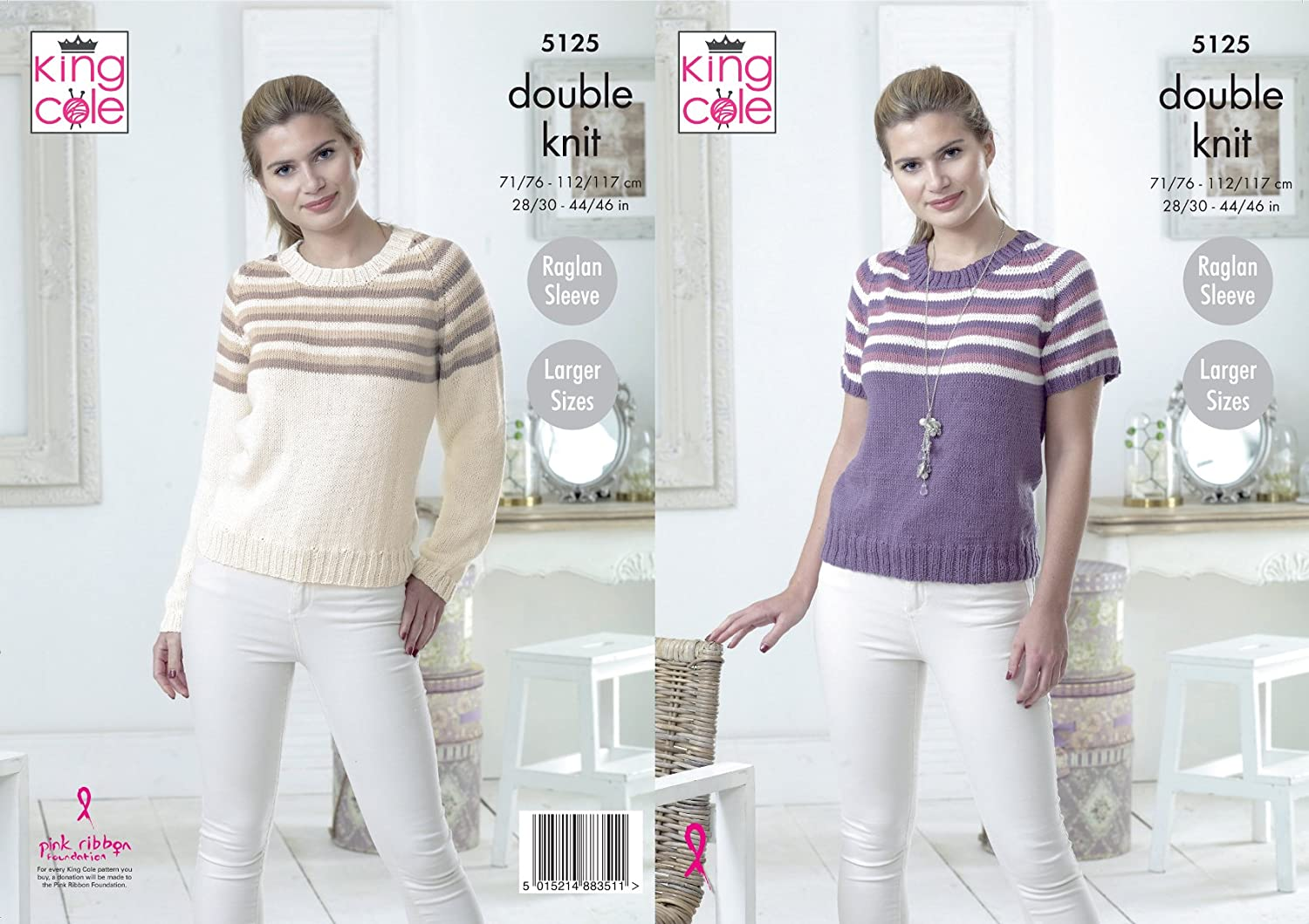 Ladies Long or Short Sleeve Jumpers Sweaters Knitting Pattern King Cole DK 4567