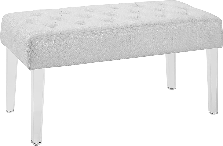 "Linon 368261GLTZ01 Ella Glitz Acrylic Leg Bench, 35"" Wx17 Dx18 H, White"