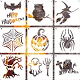 LLGLTEC 9 Pieces Halloween Stencils Template DIY Halloween Designs 7.9''x7.9'' Extra Large Reusable Plastic Crafts for…