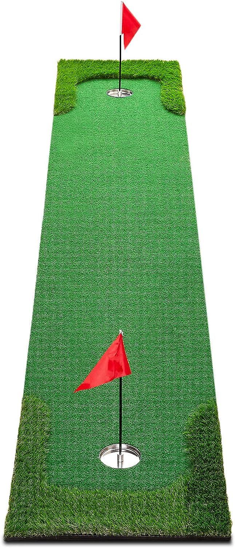 XENBEY Pro Golf Putting Green Mat Indoor Outdoor Large Golf Putting Mat System Golf Training Aid Practice Putter Mat for Home Office Backyard Use