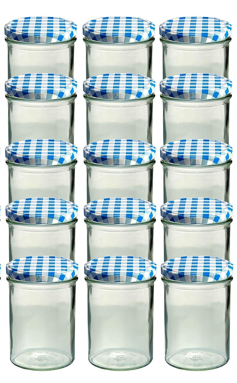 15X Barattoli in Vetro 440ML con tappo a vite two82Blu/Bianco Di vasetti in vetro barattolo di marmellata di salsiccia Trend