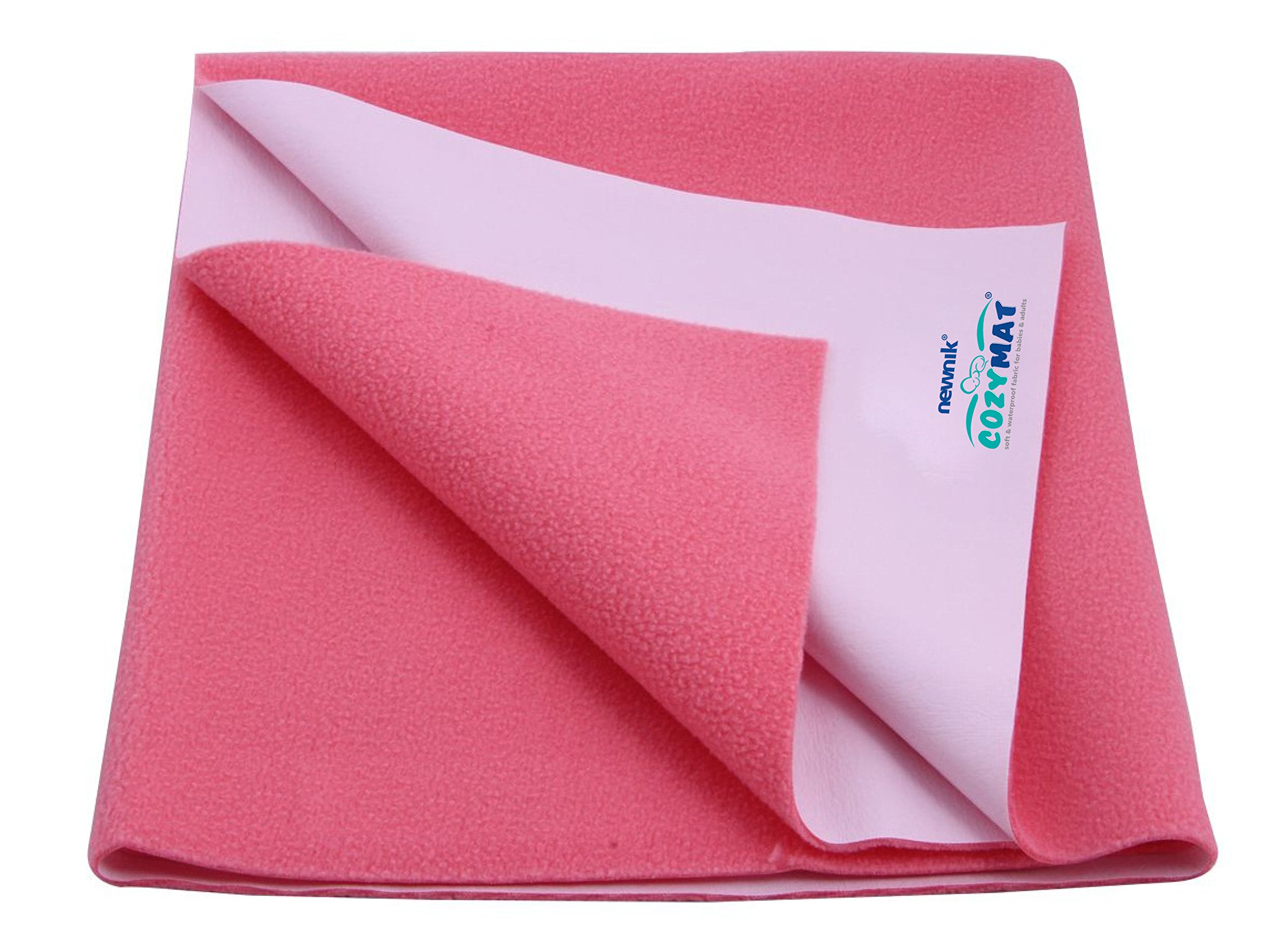 Cozymat Dry Sheet Waterproof Breathable Bed Protector (Size: 140cm X 100cm) Salmon Rose, Large by cozymat
