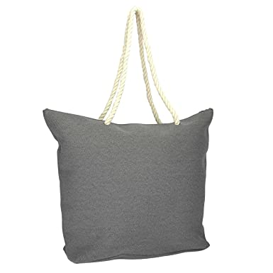 Amazon.com | DALIX Elegant Woven Canvas Tote Bag in Stone Grey w ...