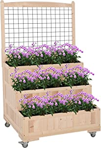 Outsunny 3-Tiers Wooden Raised Garden Bed with Wheels, Trellis, Back Storage Area, Easy Movable for Flowers, Herbs, Natural