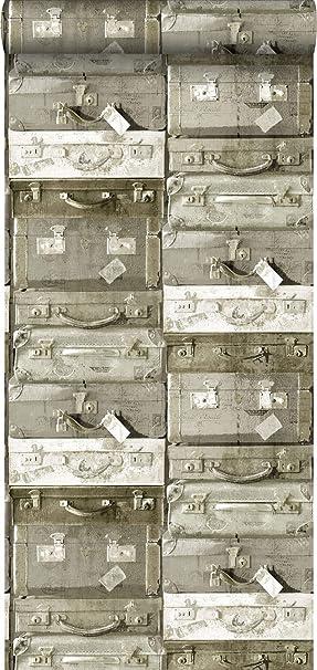 papel pintado maletas vintage marrón claro - 138213 - de ESTAhome.nl: Amazon.es: Bricolaje y herramientas