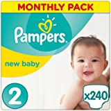 Pampers Premium Protection New Baby 240 Nappies, Monthly Saving Pack, 3 - 6 kg, Size 2