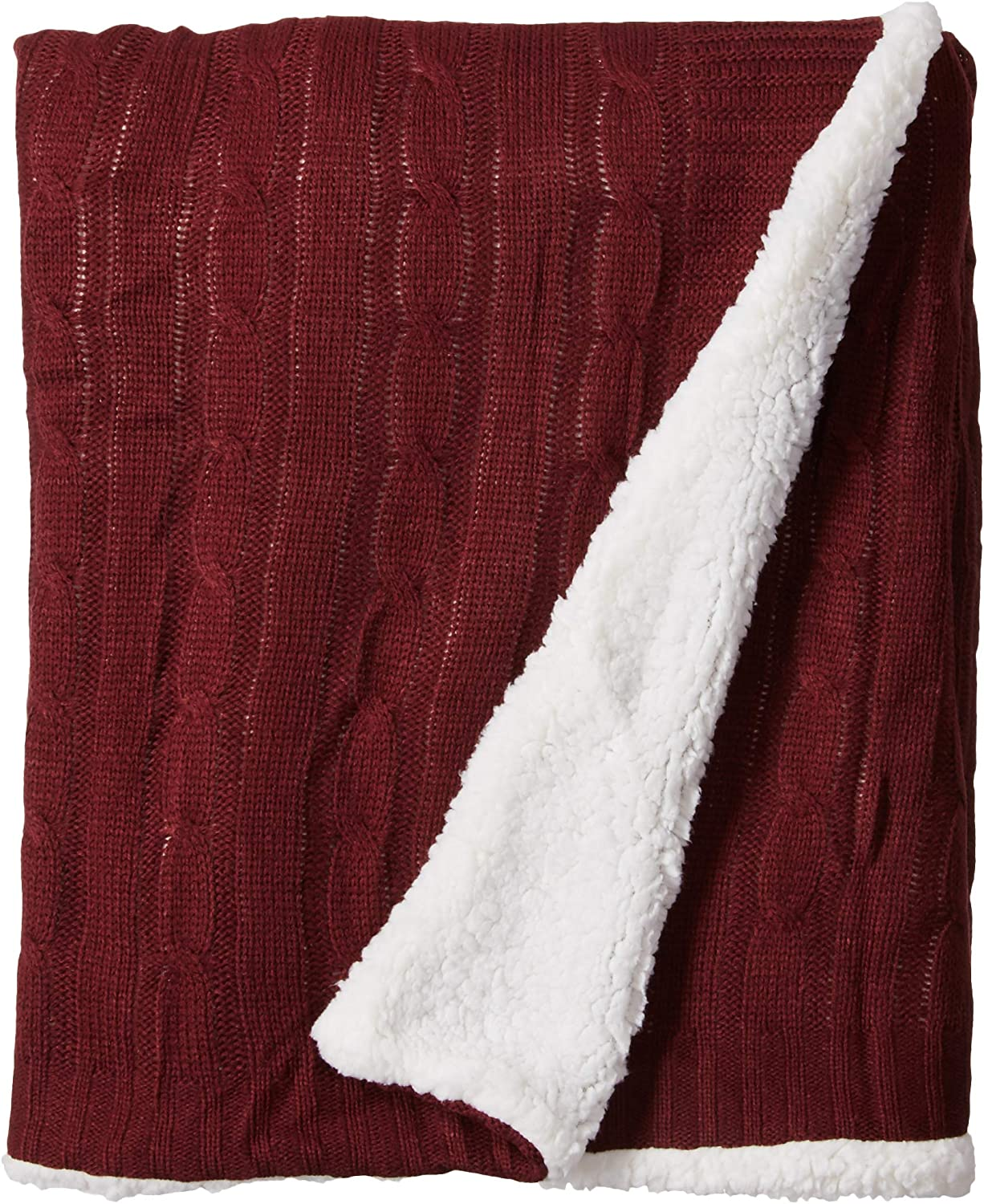 Posh Home Sweater Cable Knit Throw with Ultra Soft Sherpa Lining-Reversible-50x60-Burgundy