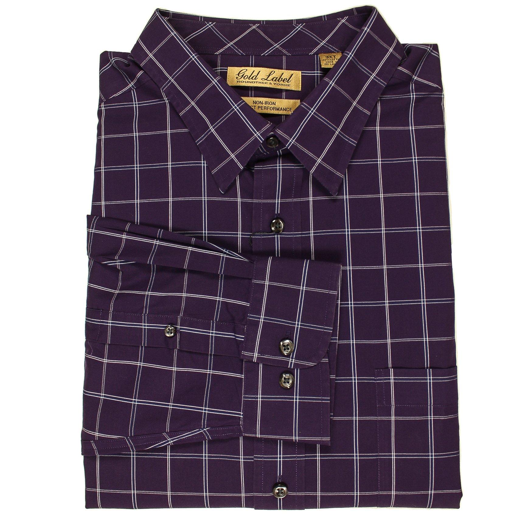 Roundtree & Yorke Gold Label Non-Iron Wrinkle Free Perfect Performance Men's Big & Tall Long Sleeve Shirt (Plum Windowpane/XLT)