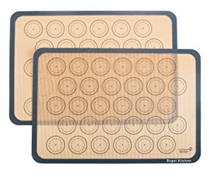 """Bugui Non-Stick Silicone Baking Mats, 2 Pack, Half Sheet Size (11.6""""x16.5"""" LxW) Food Grade Liner Sheets, Reusable Bakeware for Making Macaron/Cookie/Pastry/Pizza/Bread."""