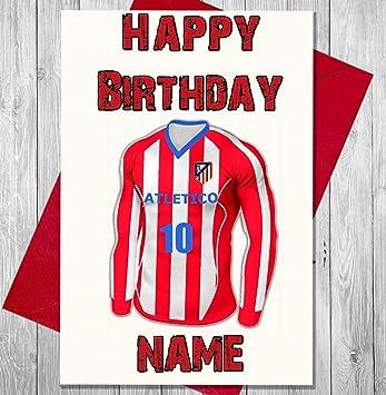 Personalizado atlético de fútbol Tarjeta de cumpleaños – cualquier nombre y numerados camiseta