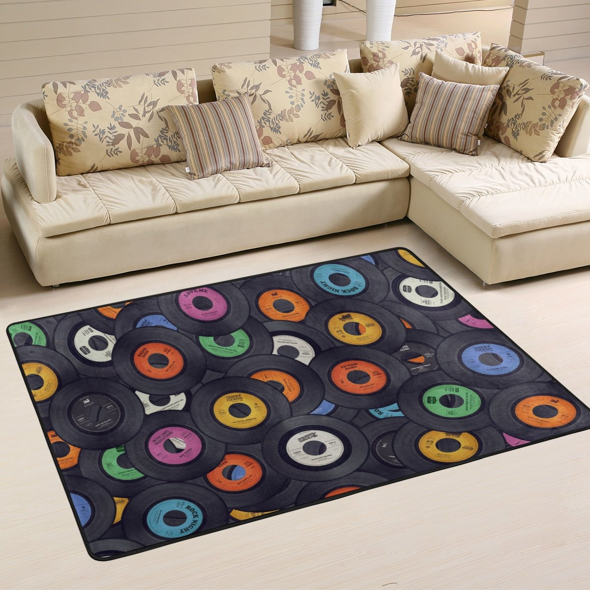 My Little Nest Multicolor Music Records Area Rug 4 x 6 Lightweight Modern Floor Mat Non-Slip Indoor Outdoor Decor Soft Carpet For Bedroom Living Dining Room