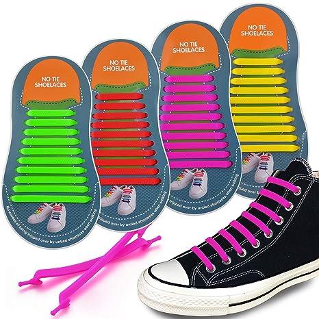 4 pares Silicona elástica Cordones de zapatos/No atar los Cordones ...