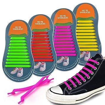 27c48577f90 4 pares Silicona elástica Cordones de zapatos/No atar los Cordones fáciles  perezosos,Duraderos