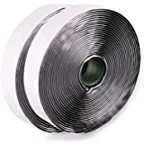 LLPT Hook and Loop Tape Color Black 1 Inch x 23 Feet Each Roll Heavy Duty Adhesive Hook Loop Strip Mounting Tape for Indoor a