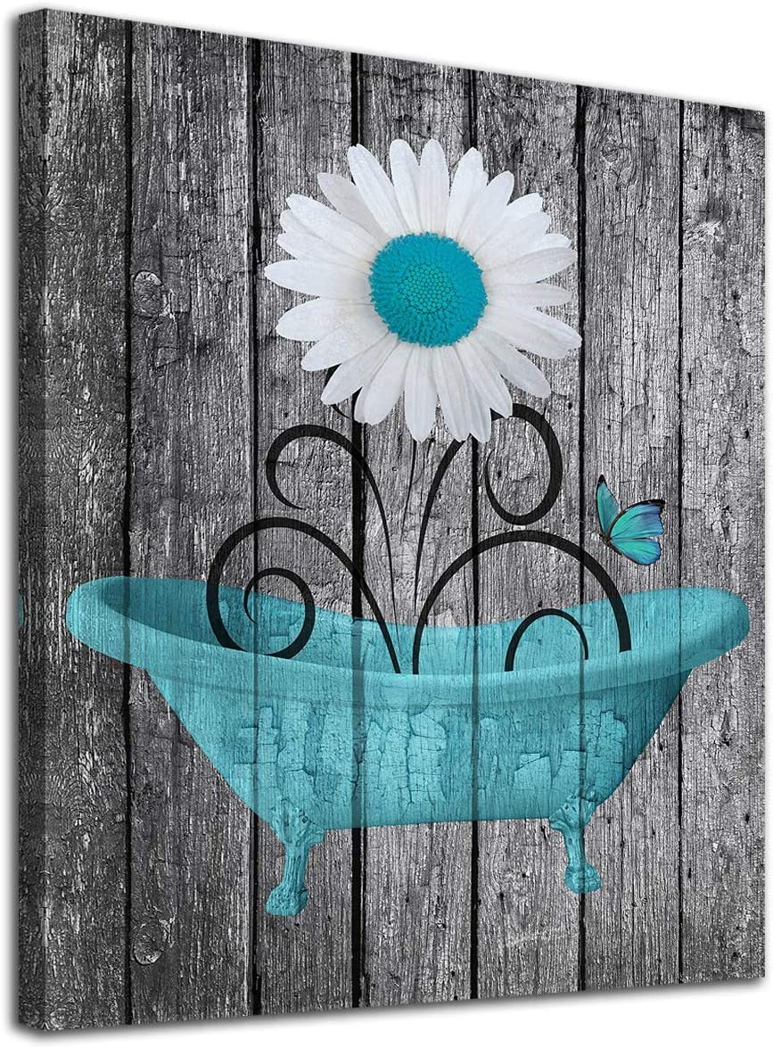 """Bathroom Wall Art Daisy Canvas Pictures Modern Flower Bathtube Artwork Rustic Wood Board Background Contemporary Wall Art Decor Bedroom Living Room Office Home Framed Ready to Hang Blue 12"""" x 16"""""""