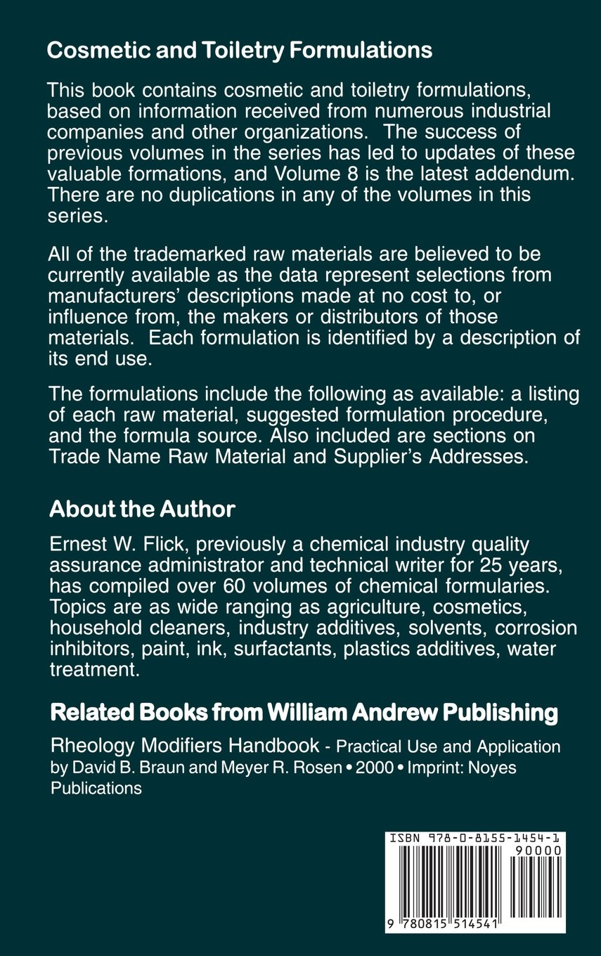 Cosmetic and toiletry formulations book