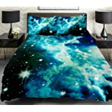 Anlye Galaxy Quilt Cover Galaxy Duvet Cover Galaxy Sheets Space Sheets Outer Space Bedding Set with 2 Matching Pillow Covers (KING)