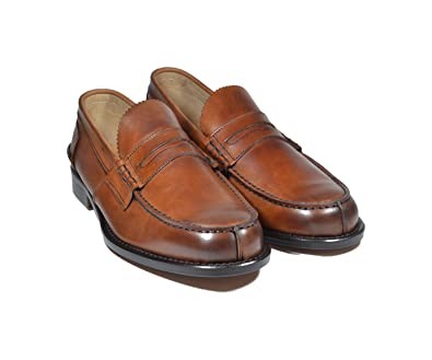 Saxone Of Scotland - Mocasines de Piel para Hombre marrón Cuero: Amazon.es: Zapatos y complementos