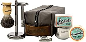 Gentleman Jon Deluxe Wet Shave Kit   Includes 8 Items: Safety Razor, Badger Hair Brush, Shave Stand, Canvas & Leather Dopp Kit, Alum Block, Shave Soap, Stainless Steel Bowl and Astra Razor Blades