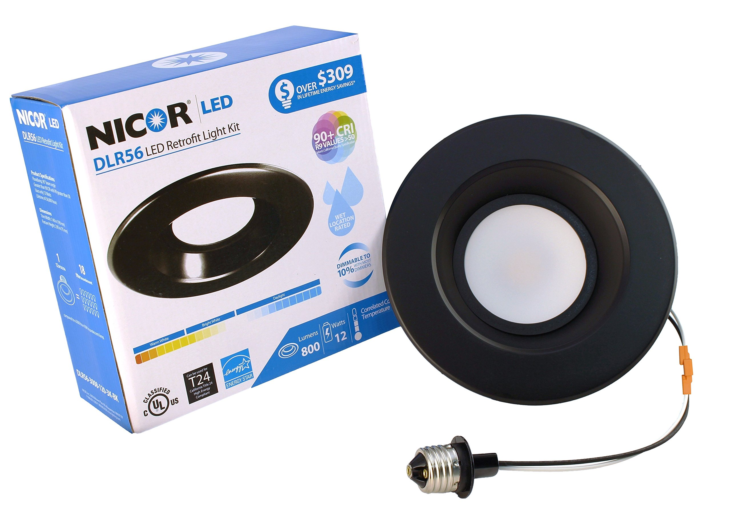 NICOR Lighting 5/6-Inch Dimmable 800-Lumen 3000K LED Downlight Retrofit Kit for Recessed Housings, Black Trim (DLR56-3008-120-3K-BK)