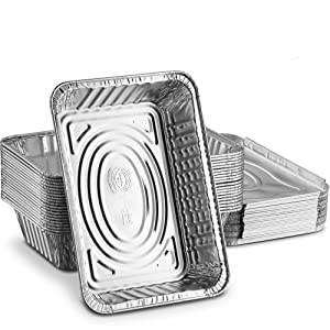 Propack Disposable Aluminum Oblong Foil Pans, Food Containers, With Foil Lids, 2 ¼ lb. Food Storage Containers Pack Of 20