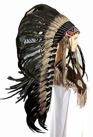 Indianer Kopfschmuck Medium Extra Federhaube 120 Cm Lang Schwarze