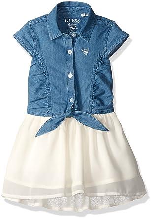 5ab8a0130b21b GUESS Girls' Little Denim and Hi Low Chiffon Dress, Light Blue Chambray, ...