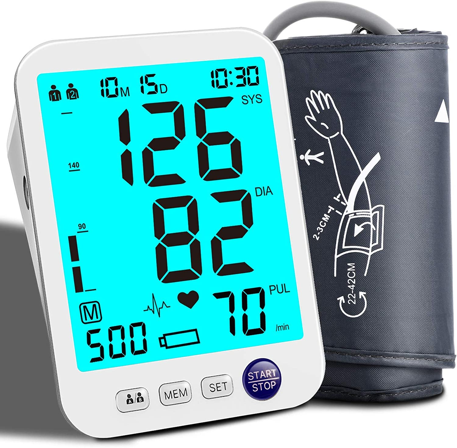 Blood Pressure Monitor Upper Arm Blood Pressure Monitor for Home Use Automatic Digital BP Machine with Wide Range Cuff, 2x500 Memory,Extra Large Backlight Display,Irregular Heartbeat Detector
