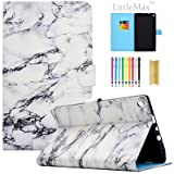 LittleMax(TM),PU Leather Case Flip Stand Protective Auto Wake/Sleep Cover for Amazon Kindle Fire HD 8 7th Gen & 6th Gen with Free Stylus-02 Marble