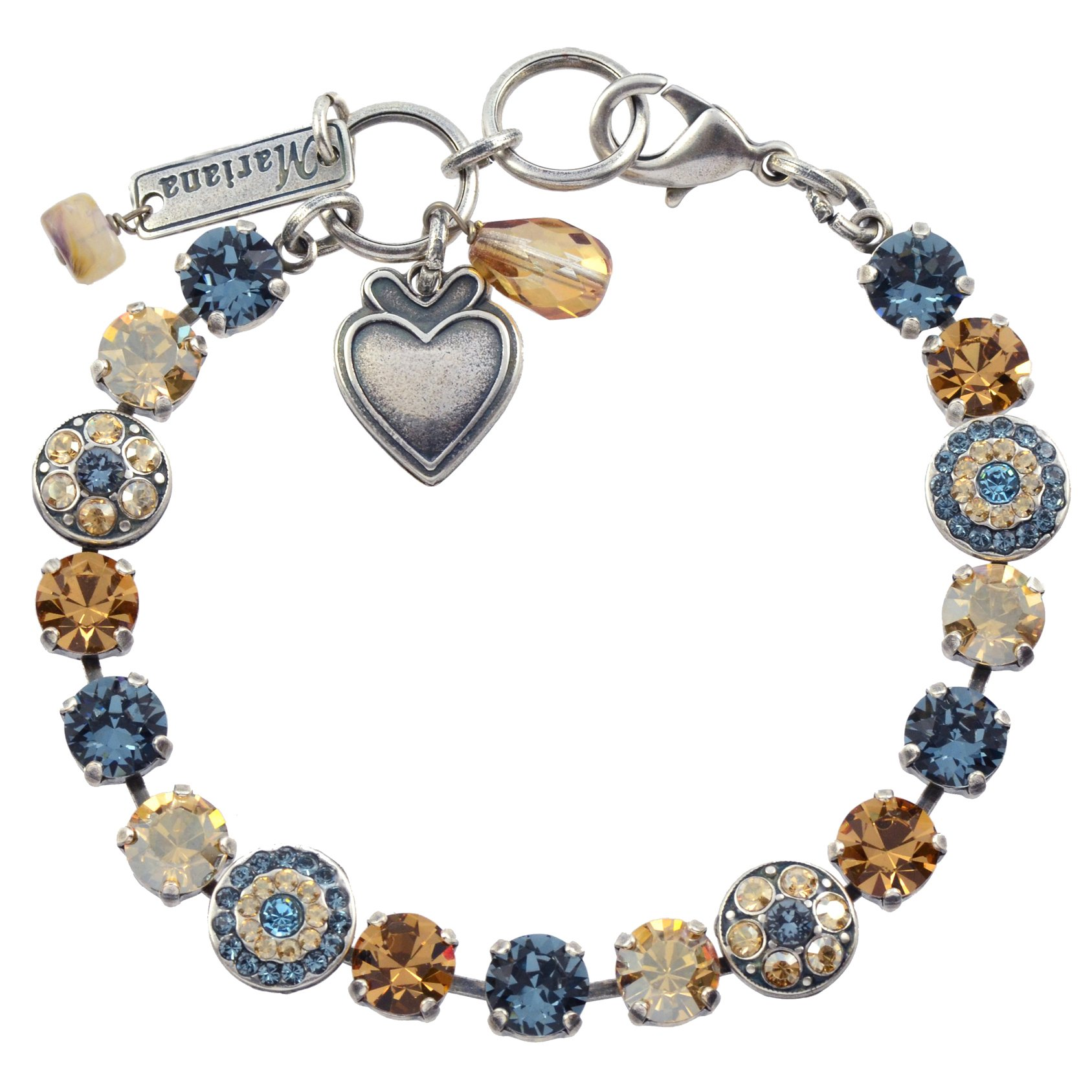 Mariana ''Moondrops'' Round Jewel Tennis Bracelet, Silver Plated with Fawn Crystal, 8'' 4044 216-3