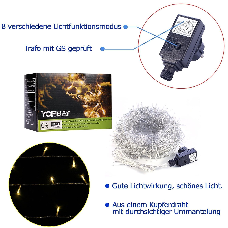 Yorbay LED Lichterkette 400 LEDs aus Kupferdraht Warmweiß IP44 ...