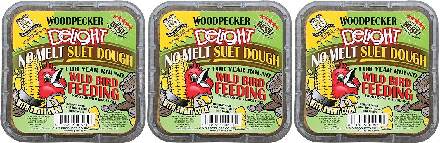 (3 Pack) C&S Woodpecker Delight No-Melt Suet Dough