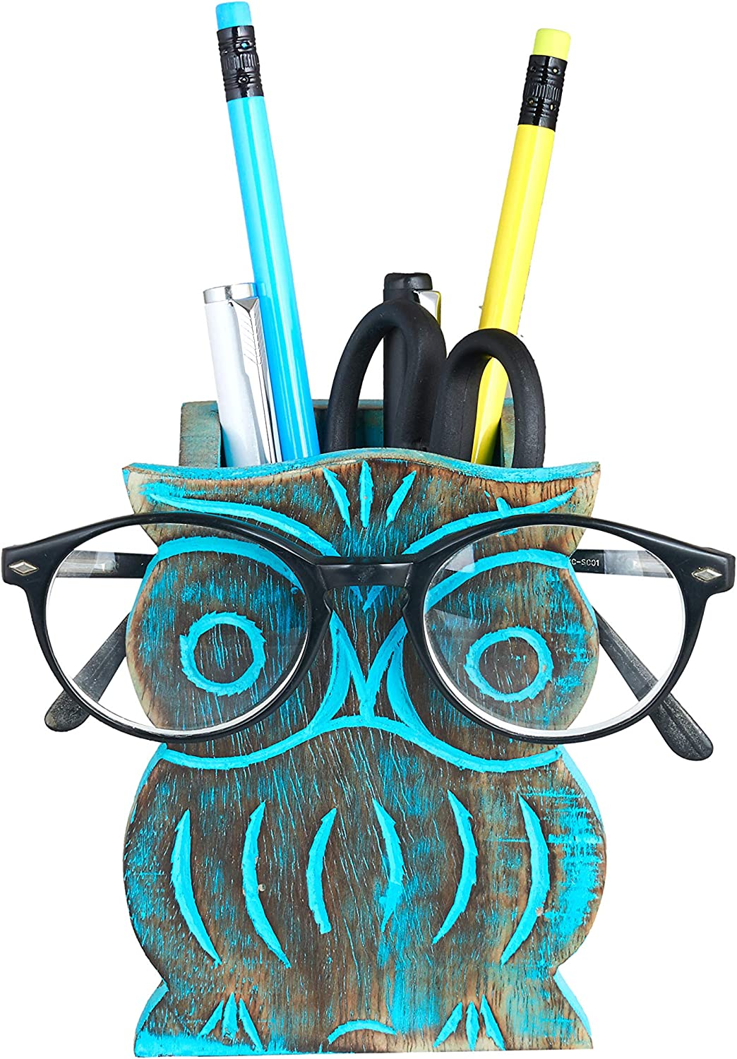 Owl Spectacle Holder | Pen Pencil Holder Stand for Desk | Pen Pencil Case Stand Up | Standing Pencil Case | Colored Pencil Holder Stand | Eyeglass Holder Stand | Home Office Decorative Accessories