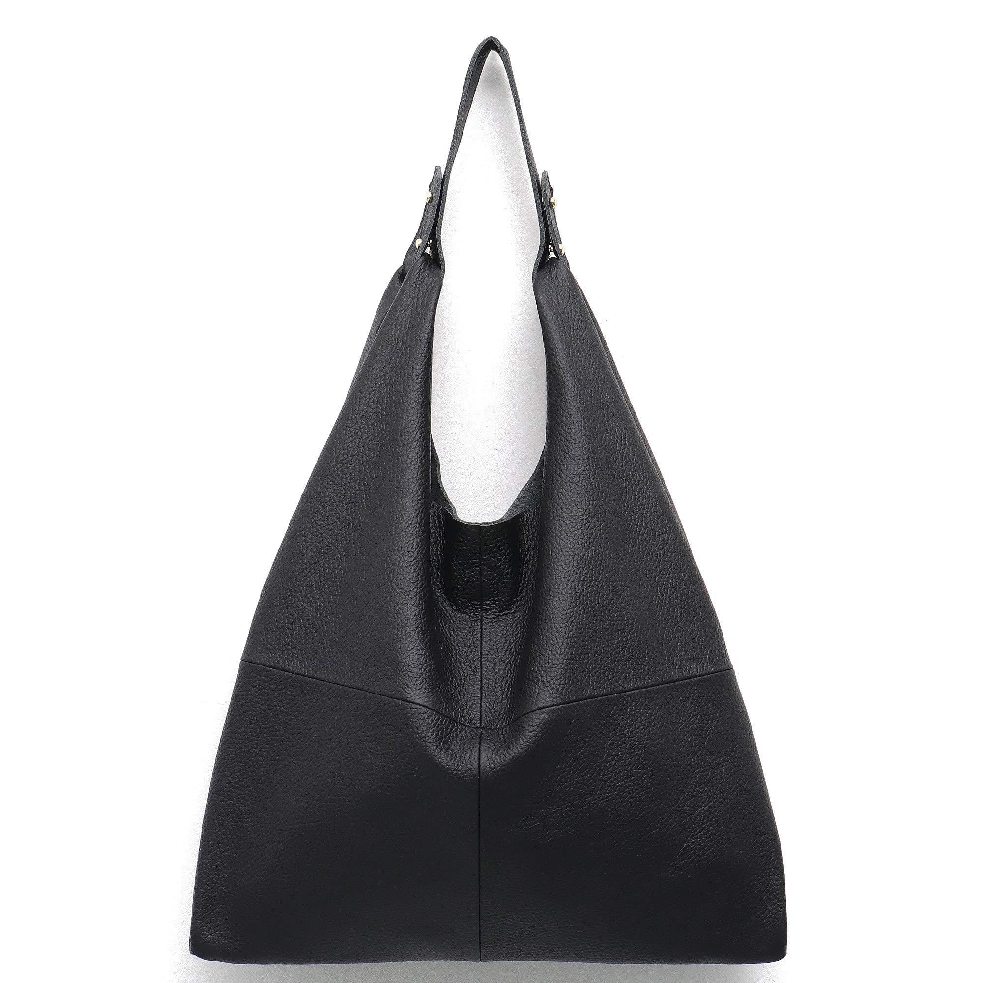 STEPHIECATH Women's Handbag Genuine Leather Slouchy Hobo Shoulder Bag Large Casual Soft Handmade Tote Bags Ladies Vintage Bucket Snap Shopping Bag with Zipper Cellphone Liner Bag Inside (Black)