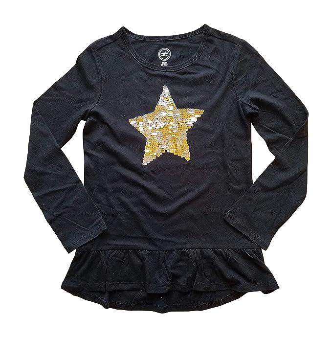 bd834a0d Wonder Nation Flippy Sequin Star Black Long Sleeve Shirt for Girls (Small  6-6X