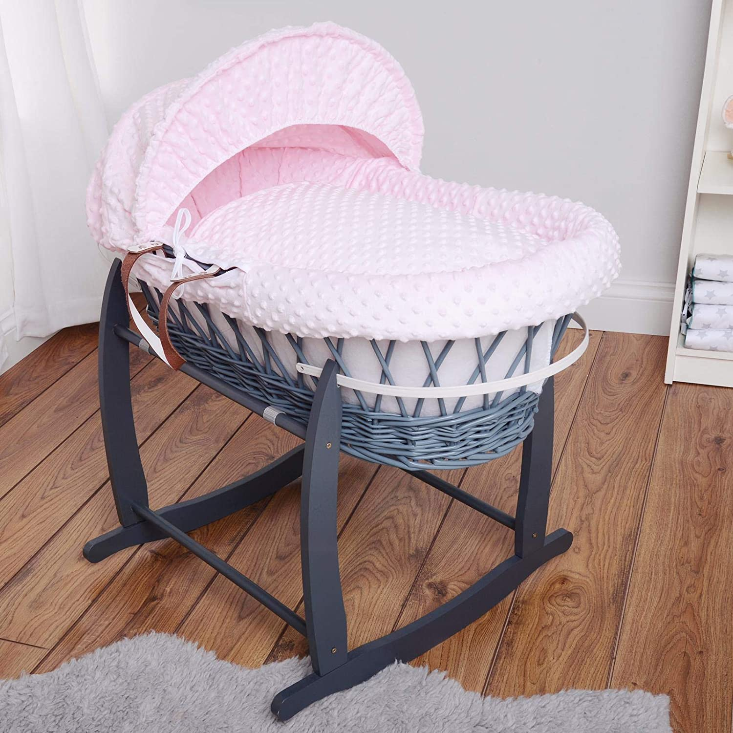 Isabella Alicia Designer Grey Wicker Moses Basket with Pink Dimple Dressing and Rocking Stand
