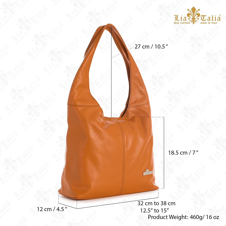 247da1f848 LIATALIA Genuine Italian Soft Leather Medium Hobo Shopper Shoulder bag -  OLIVIA  Coffee   Amazon.co.uk  Shoes   Bags