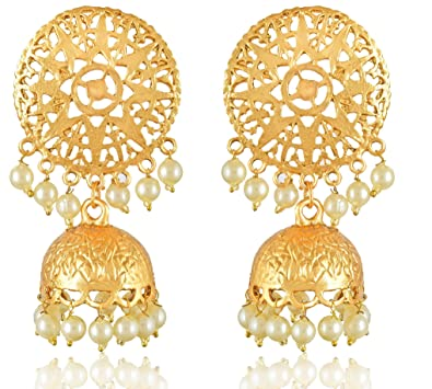 2537fcbf6be43 MEENAZ Gold Plated Traditional Pearl Crystal Jhumka Jhumki Jhumkas Earrings  for Women Girls Stylish latest design
