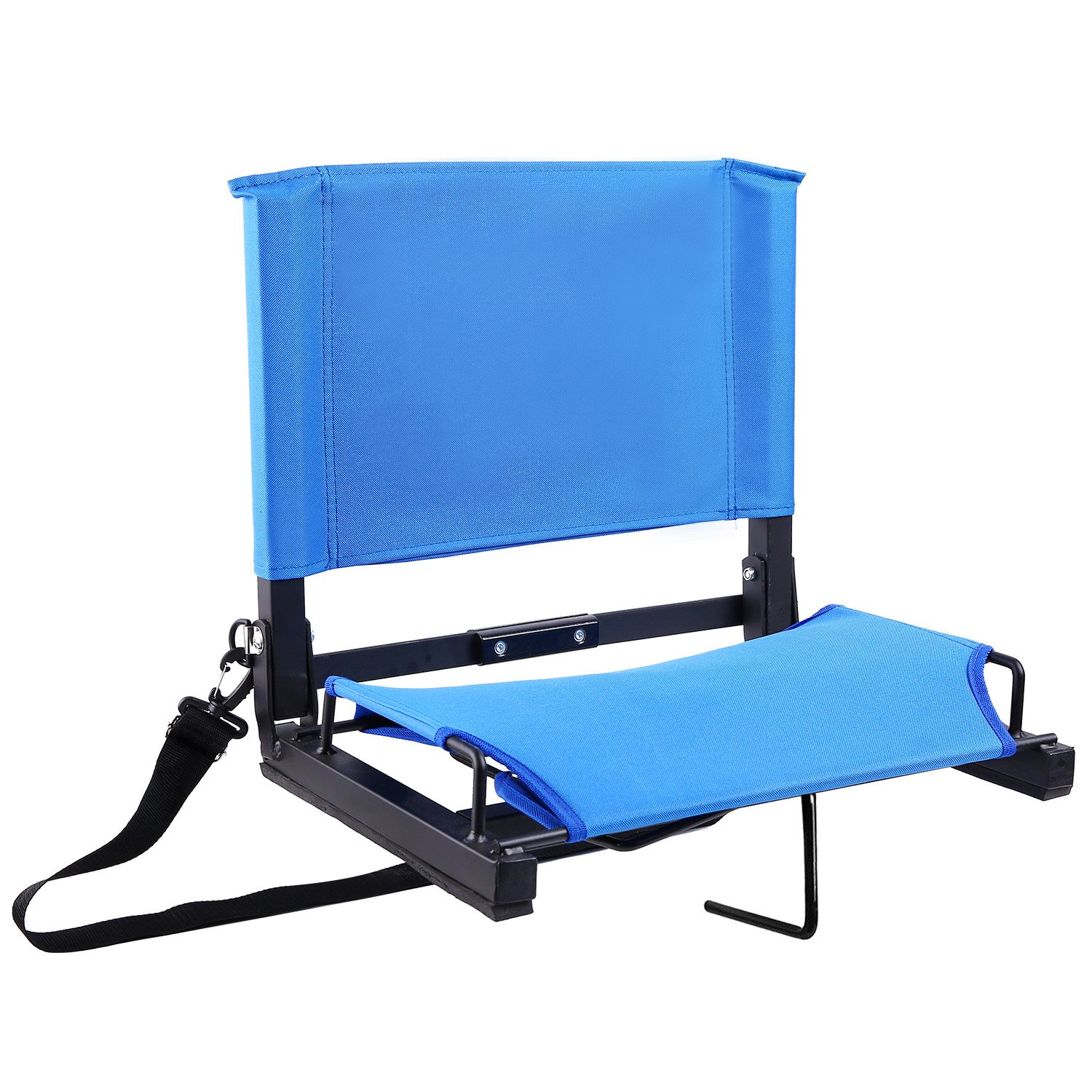 Ohuhu Stadium Chairs/Stadium Seats Bleacher Seats with Bungee Cord Cushion and Comfortable Backrest, Blue by Ohuhu