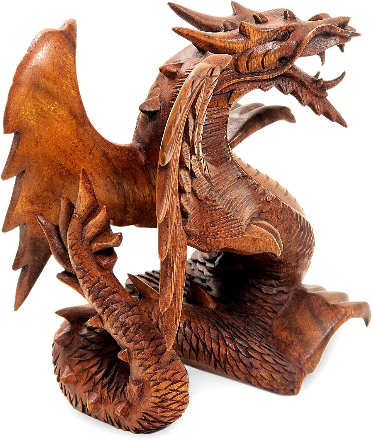 Amazon Com Oma Dragon Statue Fiery Dragon Wood Carved Figurine Dragon Decor Fantasy X Large Collector S Item Brand Home Kitchen