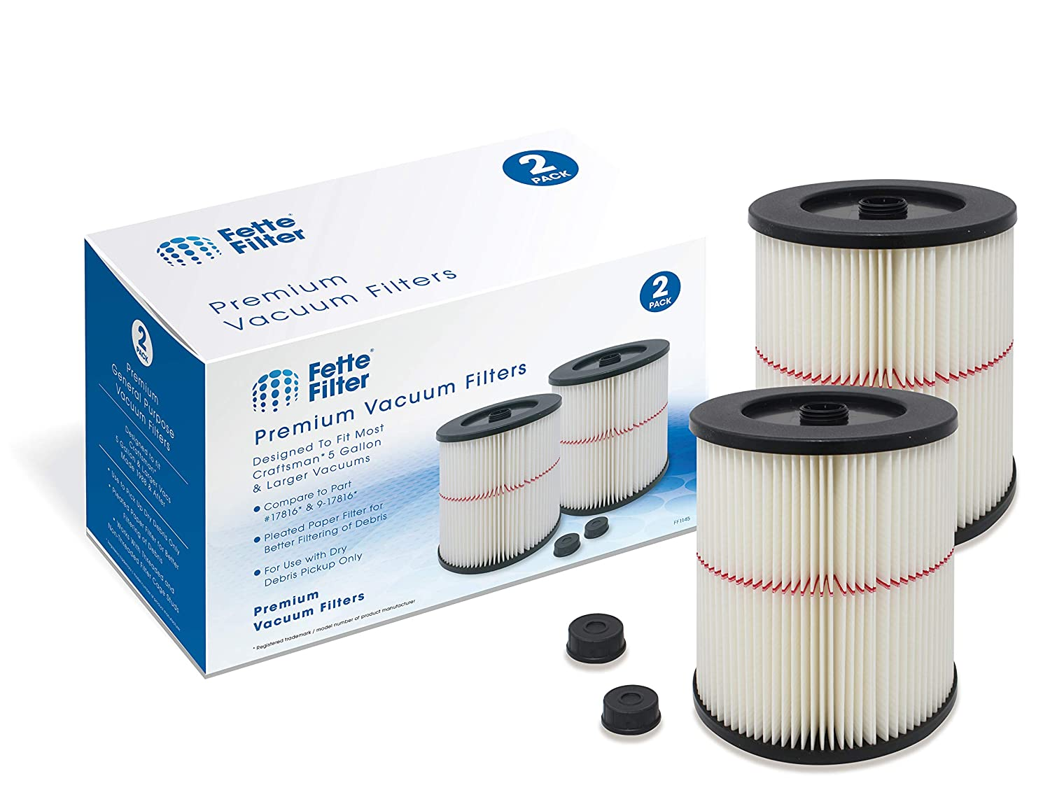 Fette Filter – General Purpose Cartridge Filter Compatible with Craftsman Red Stripe Vac. Compare to Part # 17816 & 9-17816. (Pack of 2)