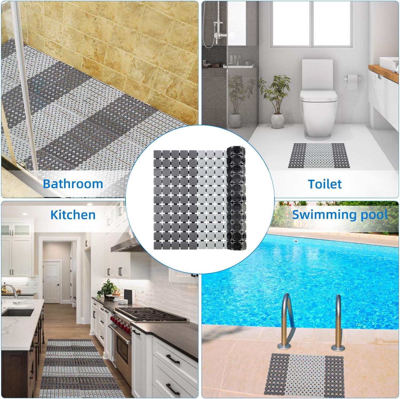 Yisun colore blu grigio. tappetino per doccia con ventosa per drenaggio rapido tappetino antiscivolo per vasca da bagno e doccia antimuffa