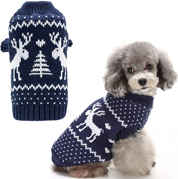Amazon.com : Small Dog Puppy Christmas Sweaters Cute Reindeer Navy ...