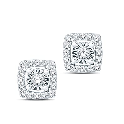 4653f634c Amazon.com: Tesero Mio Sterling Silver 1/10 Carat Round Cut (I-J ...