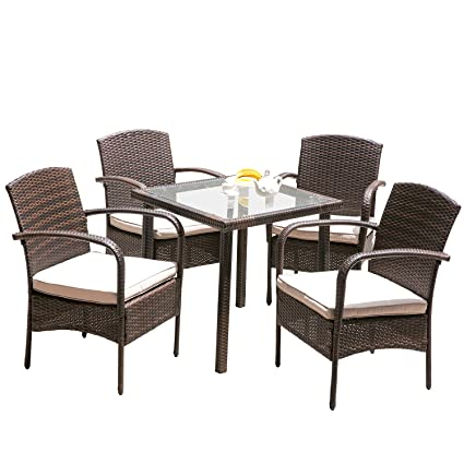Superb Hq Rattan Wicker Garden Lawn Patio Furniture Sets Clearance 5 PC Outdoor  Indoor Dining Table And