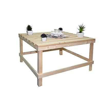 Tavolino Da Salotto Arte Povera Prezzi.Rebecca Srl Tavolo Tavolini Da Salotto Pallet Legno Pino Naturale