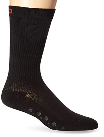 12a96958c1 MD USA Ribbed Cotton Non-Skid Compression Socks with Cushion Soles, Black,  Medium