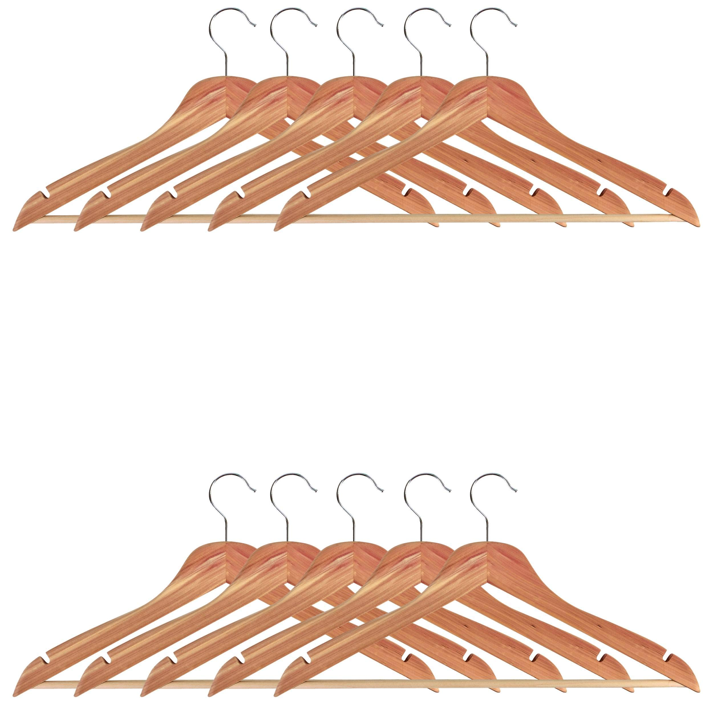 Milwerks Natural Cedar Wooden Clothes Hangers, 12 Pack - 17.5 Inch Wide Premium Heavy-Duty Wood Hanger with Notches and Non-Slip Pants Bar - Strong 360-Degree Swivel Chrome Hook