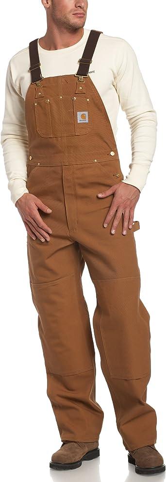 Carhartt Mens Mens Duck Bib Overalls Unlined Solid Overalls//Coveralls